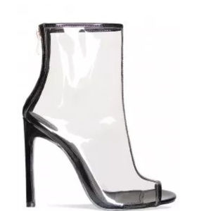 Shoes - Simmi London Lucite Plastic Clear Heeled Booties